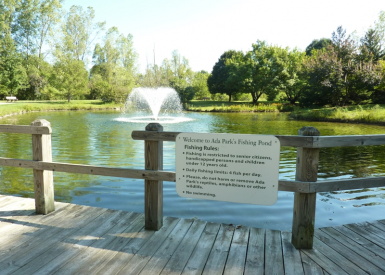 Ada Park Lagoon With Sign